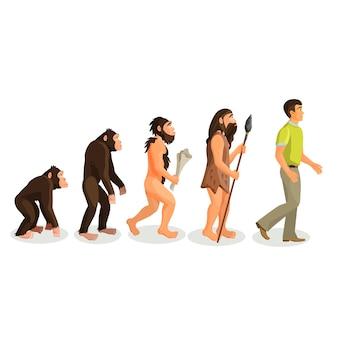 Ewolucja małpa do procesu człowieka na białym tle. ewolucyjne doprowadziły do pojawienia się anatomicznie współczesnych ludzi. antropologia fizyczna, prymatologia, paleontologia, psychologia ewolucyjna, koncepcje genetyczne.
