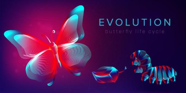Ewolucja poziomego banera cyklu życia motyla. ilustracja wektorowa 3d z abstrakcyjnymi stereo neonowymi sylwetkami owadów: gąsienica, poczwarka i motyl. koncepcja metamorfozy w stylu grafiki liniowej