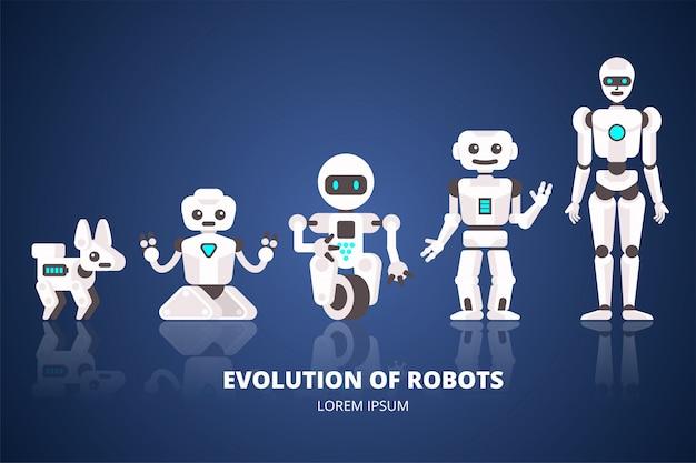 Ewolucja robotów etapy rozwoju androidów ilustracja płaska