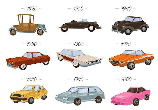 Ewolucja samochodów, pojedyncze samochody vintage i retro z lat 20. i 30., 40. i 50., 60. i 70. rozwój i klasyczny design pojazdów, transport lat 80-tych i 90-tych. wektor w stylu płaskiej