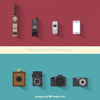 Ewolucja telefon i foto aparaty fotograficzne