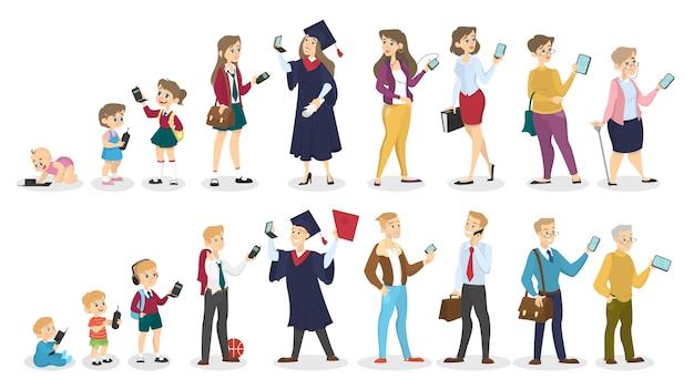 Ewolucja telefonu. różne pokolenia używają różnych telefonów