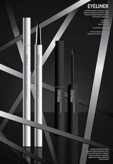 Eyeliner kosmetyczny z plakatem projekt opakowania