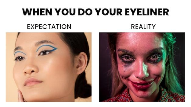Eyeliner oczekiwanie vs rzeczywistość mem