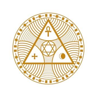 Ezoteryczna duchowa geometria na białym tle