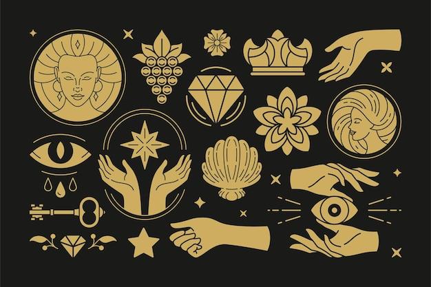 Ezoteryczna magia i elementy projektu wektorów czarownic z gestami kobiecych rąk