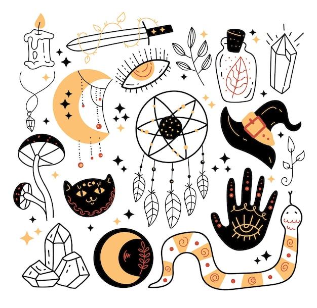 Ezoteryczna magia okultystyczna czarownica ręcznie rysowane zestaw elementów projektu na białym tle
