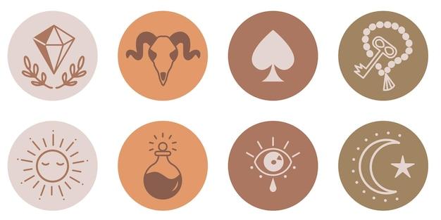 Ezoteryczne boho social media historie zestaw ikon minimalistyczny podświetlenia obejmuje kryształ słońce klucz trucizna krowa czaszka księżyc oko pik handdrawn astrologia logo wektor ilustracja na białym tle