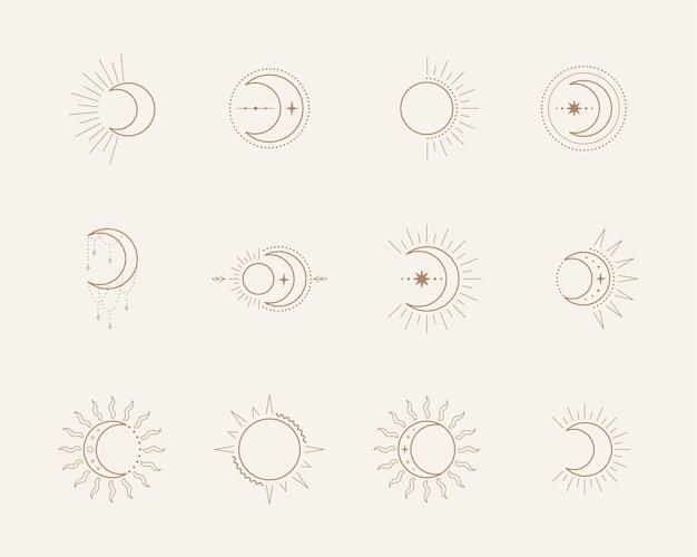 Ezoteryczne symbole z księżycem i słońcem. niebiańskie śpiewa. ilustracja w stylu boho