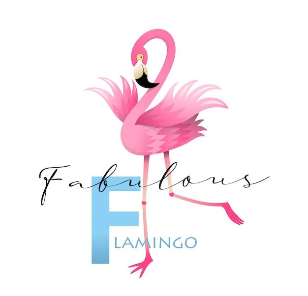 F jak flamingo alphabet teaching english card
