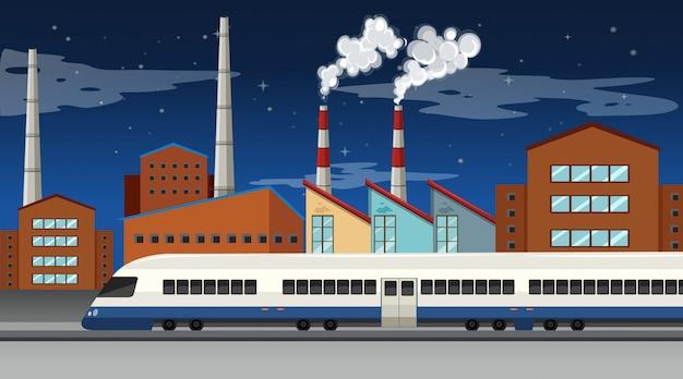 Fabryczna scena z kominami i wieżami chłodniczymi