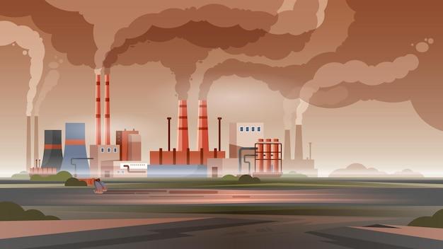 Fabryczne zanieczyszczenie powietrza i wody w mieście z dymem i toksycznymi odpadami płaską ilustracją