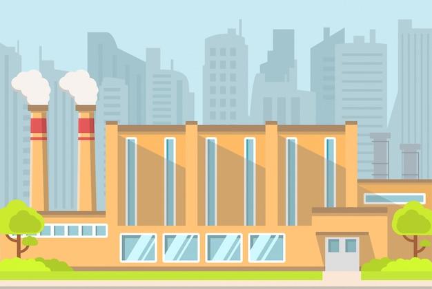 Fabryczny budynek przemysłowy.
