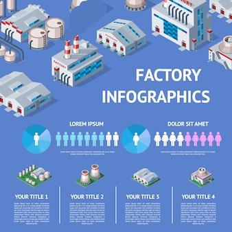 Fabryczny przemysłowy budynek i przemysł manufaktura z inżynierii władzy ilustracyjną isometric infographics mapą produkuje budowy produkuje energię lub elektryczność na tle