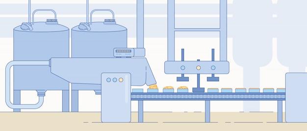 Fabryczny sprzęt i maszyny do produkcji sera.