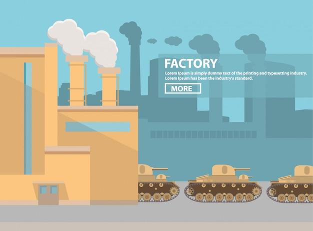 Fabryka czołgów wojskowych.