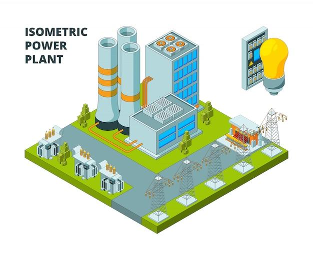 Fabryka energii elektrycznej. elektrownia przemysłowa lub stacja budynków energetycznych 3d izometryczne zdjęcia