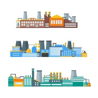 Fabryka lub budynek przemysłowy płaska konstrukcja styl poziomy zestaw panoramiczny. przemysł energetyczny