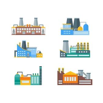 Fabryka lub budynek przemysłowy płaski zestaw stylów. przemysł energetyczny