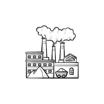 Fabryka ręcznie rysowane konspektu doodle ikona. pojęcie zanieczyszczenia ekologii. fabryka z rur dymnych wektor szkic ilustracji do druku, sieci web, mobile i infografiki na białym tle