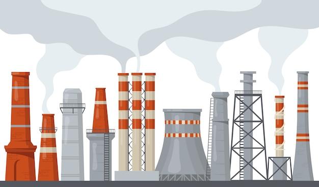 Fabryka rur i kominów z zestawem ilustracji płaskich energii toksycznej energii. kreskówka przemysłowe zanieczyszczenie komina z kolekcji ilustracji wektorowych na białym tle dymu lub pary. pojęcie środowiska i ekologii
