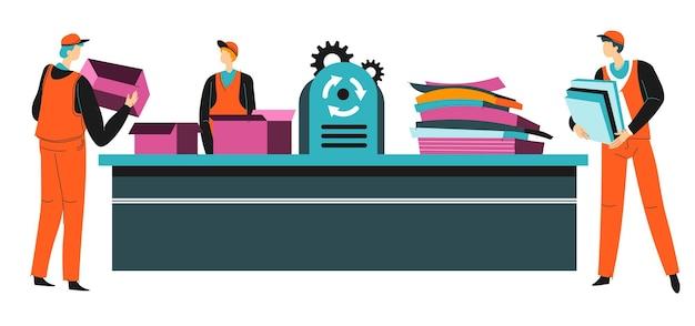 Fabryka zajmująca się recyklingiem odpadów papierowych, proces pracy. ochrona przyrody i zmiany klimatu. osoby korzystające z prasy do tektur i kartek, sortowanie przyjazne dla środowiska, wektor w mieszkaniu