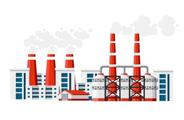 Fabryki z fajkami dymowymi. problem zanieczyszczenia środowiska. fabryka ziemi zanieczyszcza gaz węglowy. ilustracja. ilustracja na białym tle.
