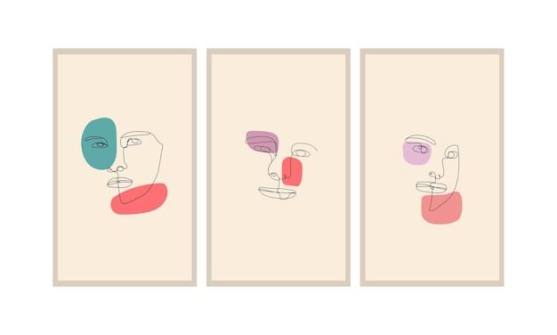 Face line art abstract minimalist do dekoracji ścian, plakatów, broszur i innych