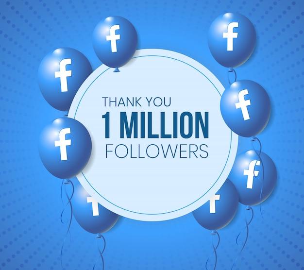 Facebook 3d balony ramka na baner i prezentację osiągnięć milowych