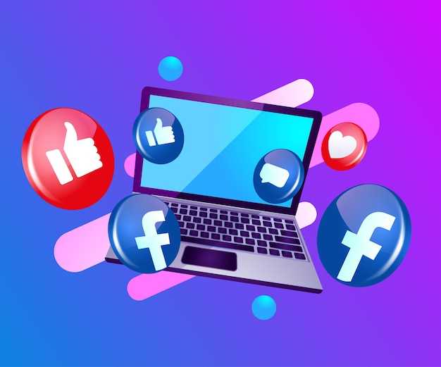 Facebook 3d ikona social media z laptopem dekstop