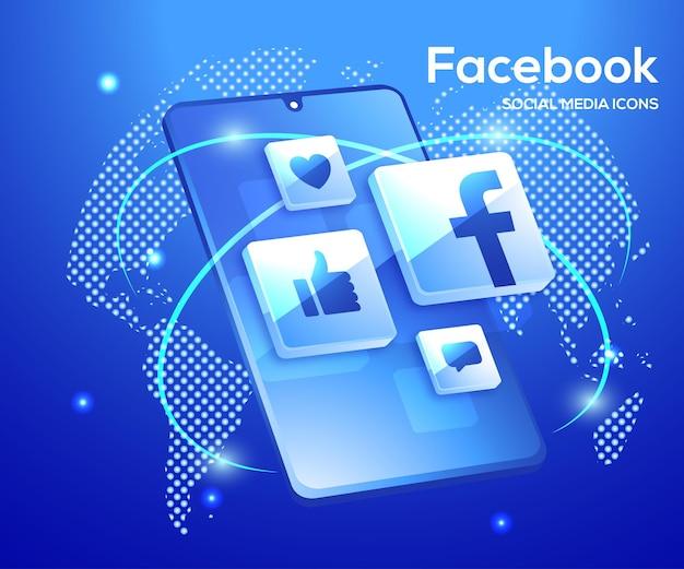 Facebook 3d ikony mediów społecznościowych z symbolem smartphone