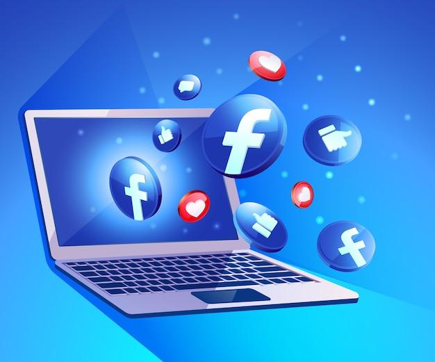 Facebook 3d social media iicon z laptopem dekstop