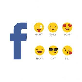 Facebook emotikon ikona zestaw z logo