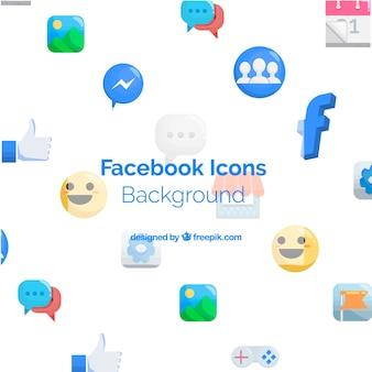 Facebook ikony tło z płaskim projektem
