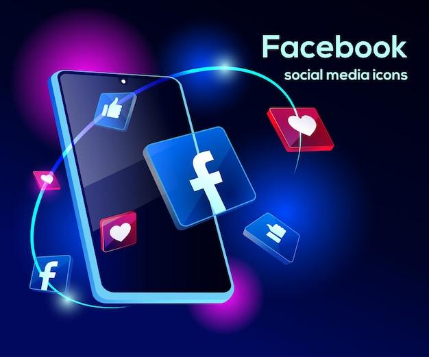 Facebook ¡illsutration 3d z wyrafinowanym smartfonem i ikonami
