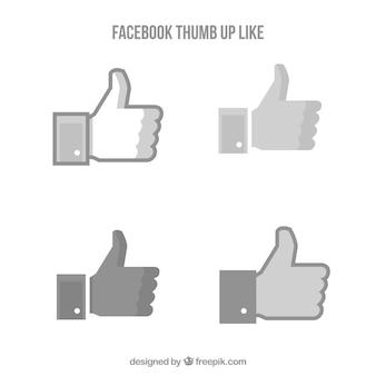 Facebook kciuk w górę jak kolekcja w stylu płaski