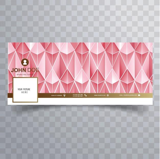 Facebook streszczenie 3d różowy szablon okładki