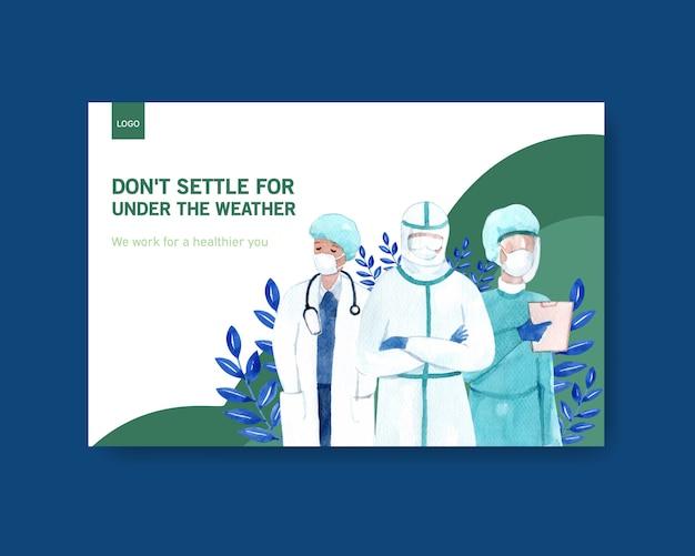 Facebook szablonu choroby pojęcia projekt z ludźmi i doktorskich charakterów akwareli infographic symptomatyczną akwareli ilustracją