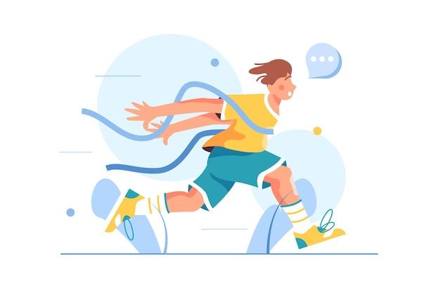 Facet-atleta kończy zawody biegowe, przecina taśmę, biegnie pierwszy, izolowany