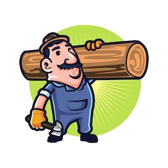 Facet do wycinania i ciągnięcia drzew kreskówki
