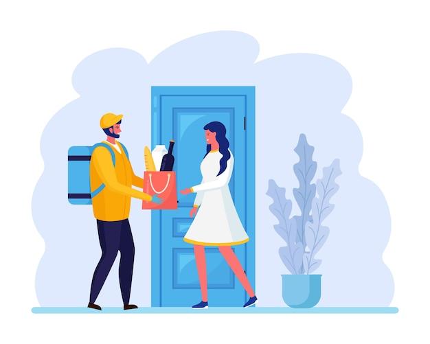 Facet dostarcza paczkę pod drzwi domu. szybka dostawa. kobieta odbiera od kuriera worek z jedzeniem. ekspresowa wysyłka. projekt kreskówki