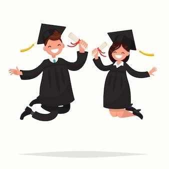 Facet I Dziewczyna Absolwenci Uniwersytetu Z Radością Odbijają Ilustrację Premium Wektorów