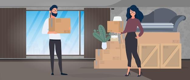 Facet i dziewczyna trzymają w rękach papierowe pudełka. duże pudła, kanapa. pojęcie przeprowadzki, zmiany mieszkania, kupna mieszkania lub przeprowadzki biura. wektor.