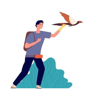 Facet i sokół. mężczyzna właściciel ptaka, dziki zwierzak. człowiek wypuszcza orła w locie, ilustracja wektorowa ornitolog na białym tle. sokół ptasi, tradycyjny orzeł myśliwski