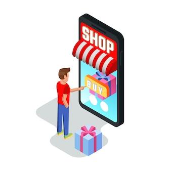 Facet kupujący towary, usługi, zamawiający, rezerwujący za pomocą urządzeń.