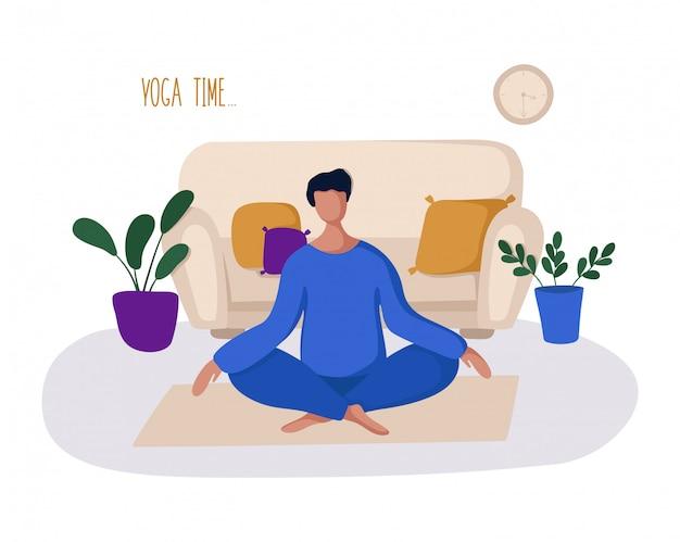 Facet lub mężczyzna i jego hobby lub codzienna aktywność - joga, trening