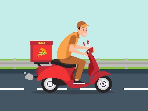 Facet na motorowerze nosi pizzę.