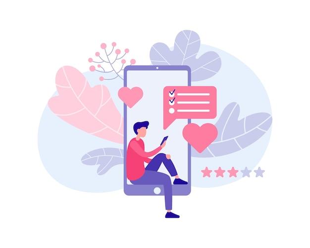 Facet składa zamówienia na prezenty za pośrednictwem płaskiej ilustracji aplikacji online. męska postać ze smartfonem kupuje niespodzianki dla dziewczyny i przyjaciół. świąteczna krzątanina, ciepłe relacje osobiste.