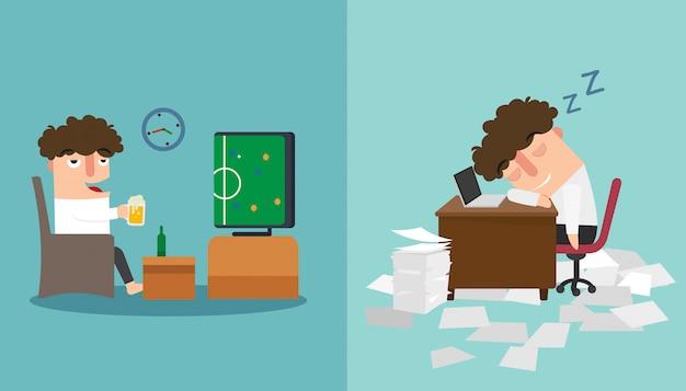 Facet śpi do późna i drzemie podczas pracy ilustracji.