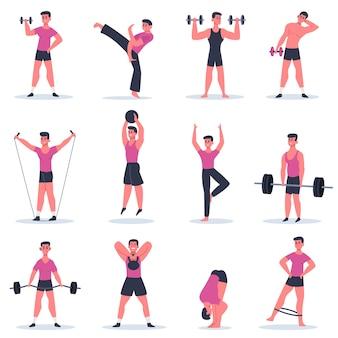 Facet sportu. młody mężczyzna ćwiczy, trening na siłowni ze sztangą męskiego charakteru, ćwiczy sztuki walki i kolekcję ilustracji crossfit. zdrowy sportowiec, aktywny styl życia trenujący sport